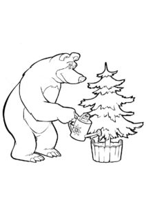 Мишка выращивает елочку - Маша и Медведь бесплатная раскраска
