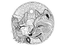 Волки распечатать раскраску на А4 - Мистический вой