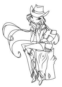 Модная ковбойская шляпка раскраска распечатать и скачать - Флора