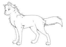 Молодая волчица - Волки бесплатная раскраска