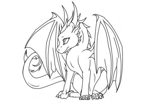 Молодой дракон (Драконы) бесплатная раскраска на печать