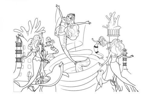 Раскраска Морская дискотека распечатать | Барби