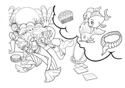 Морская красавица (Барби) разукрашка для печати на А4