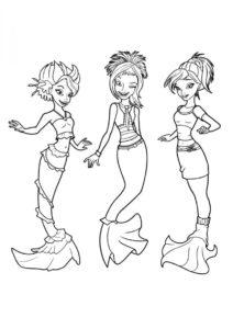 Морские подружки раскраска распечатать и скачать - Барби