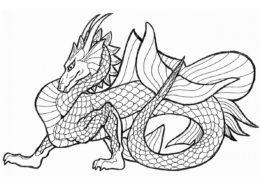 Бесплатная разукрашка для печати и скачивания Морской дракон - Драконы