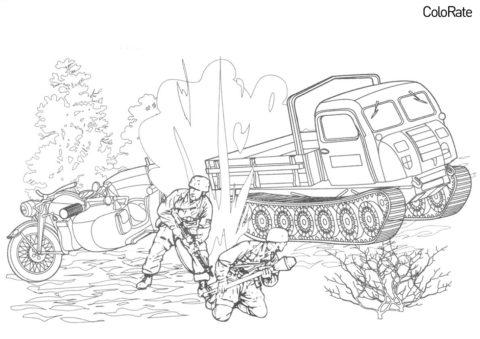 Военные распечатать раскраску - Мотоцикл Zundapp KS600 и тягач Steyr RSO