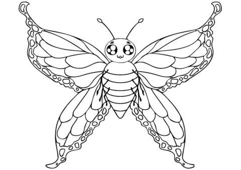 Мотылек с прозрачными крыльями (Бабочки) распечатать бесплатную раскраску