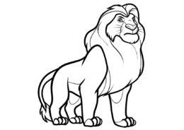 Король Лев бесплатная раскраска распечатать на А4 - Муфаса