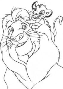Бесплатная раскраска Муфаса играет с Симбой распечатать на А4 и скачать - Король Лев