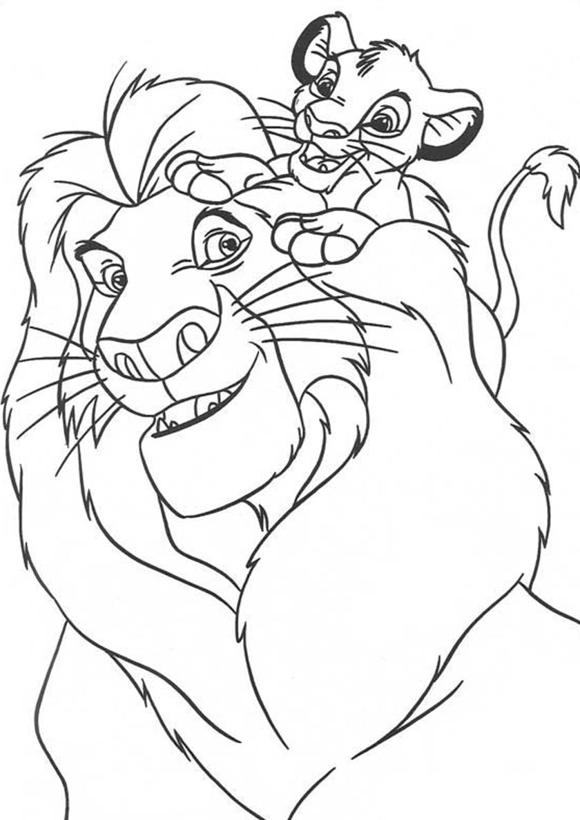 Раскраска Муфаса играет с Симбой распечатать   Король Лев