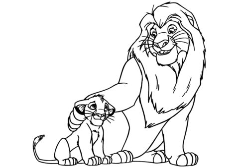 Муфаса поддерживает Симбу (Король Лев) раскраска для печати и загрузки