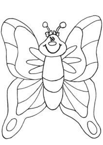 Бесплатная раскраска Мультяшная бабочка - Бабочки