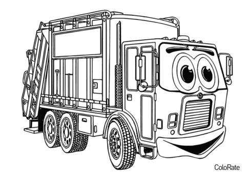 Бесплатная раскраска Мультяшный грузовик распечатать и скачать - Грузовики