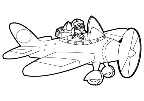Самолеты распечатать раскраску на А4 - Мультяшный самолетик