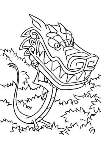 Мушу - злой дракон распечатать разукрашку бесплатно - Мулан