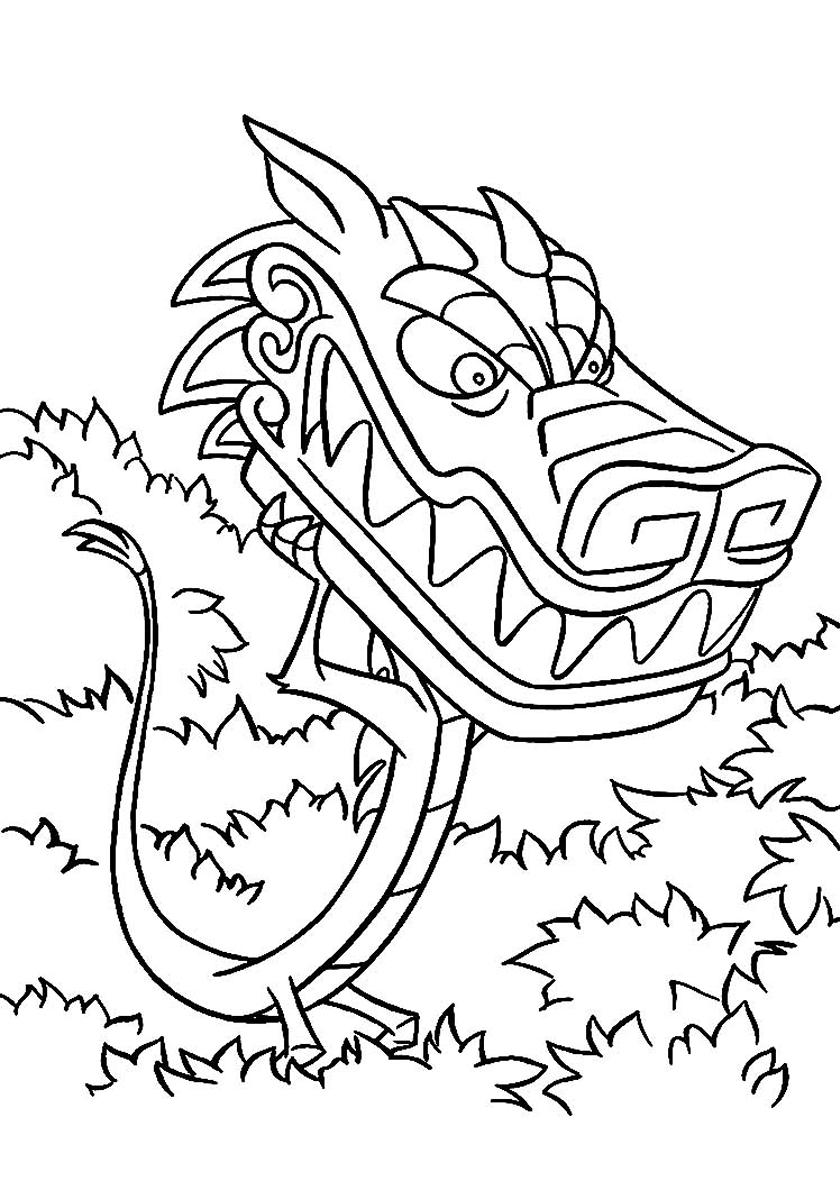 Раскраска Мушу - злой дракон распечатать | Мулан