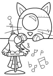Музыкальные роботы раскраска распечатать бесплатно на А4 - Роботы