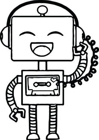 Музыкальный робот (Роботы) бесплатная раскраска на печать