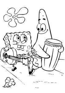 Раскраска Музыканты Патрик и Губка Боб распечатать на А4 - Губка Боб
