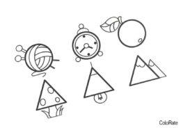 Бесплатная раскраска На основе кругов и треугольников - Геометрические фигуры