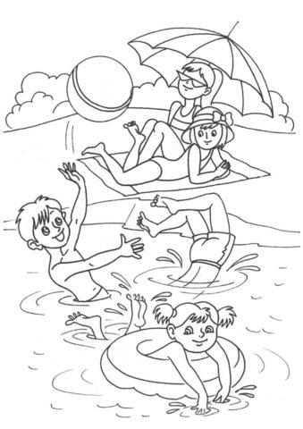 На пляже (Лето) распечатать раскраску