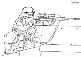 Военные распечатать раскраску - На прицеле