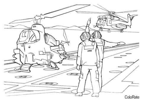 На вертолетной площадке раскраска распечатать на А4 - Военные