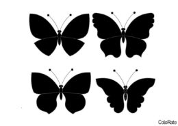 Набор простых бабочек распечатать и скачать шаблон - Трафареты бабочек