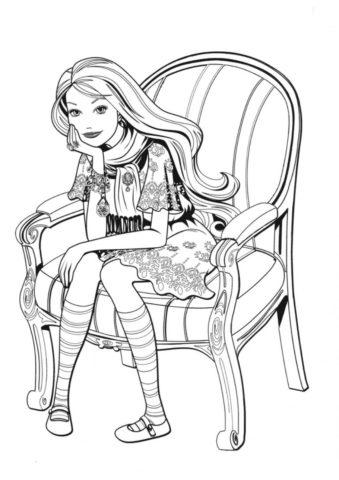 Нахлынувшие воспоминания (Барби) разукрашка для печати на А4