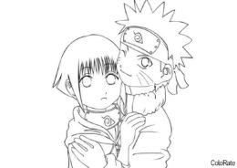 Наруто и Хината в детстве распечатать и скачать раскраску - Наруто