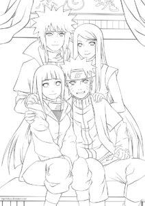Наруто распечатать раскраску на А4 - Наруто и семья