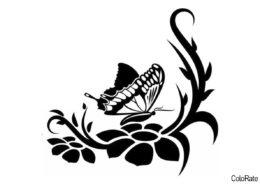 Насекомое на цветочке распечатать трафарет для вырезания бесплатно - Трафареты бабочек