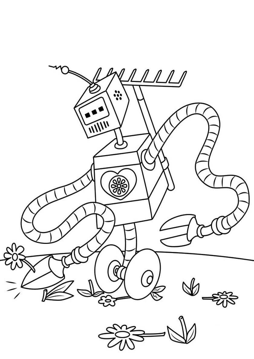 Раскраска Настоящий садовник распечатать | Роботы