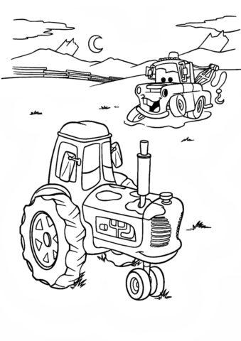 Не время спать (Трактора) бесплатная раскраска на печать