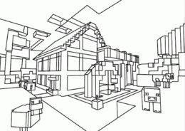 Небольшой домик (Майнкрафт) раскраска для печати и загрузки