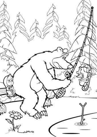 Маша и Медведь распечатать раскраску - Неожиданный улов