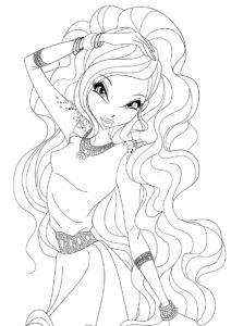 Неотразимая фея Winx (Лейла) бесплатная раскраска на печать