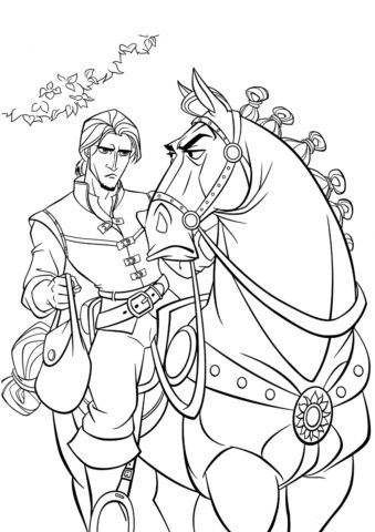 Бесплатная раскраска Непослушный конь распечатать на А4 - Рапунцель