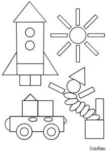Несколько изображений из простых форм раскраска распечатать на А4 - Геометрические фигуры