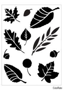 Несколько листьев и желуди - Трафареты листьев бесплатный трафарет