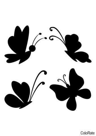 Несколько простых мотыльков (Трафареты бабочек) распечатать бесплатный трафарет