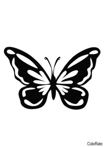 Несложный вариант бабочки (Трафареты бабочек) распечатать бесплатный трафарет