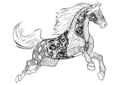 Невероятный мустанг - Лошади и пони бесплатная раскраска