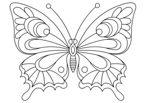 Бабочки бесплатная раскраска - Незабываемый узор