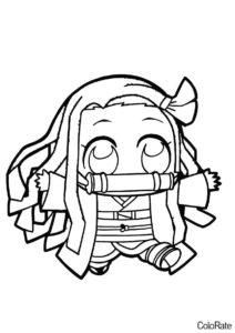 Разукрашка Незуко чиби версия распечатать и скачать - Раскраски из аниме «Клинок, рассекающий демонов»