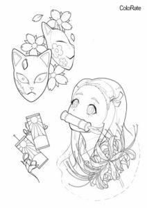 Раскраска Незуко, цветы и маски распечатать и скачать - Раскраски из аниме «Клинок, рассекающий демонов»