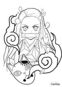 Бесплатная раскраска Незуко и маска распечатать на А4 и скачать - Раскраски из аниме «Клинок, рассекающий демонов»