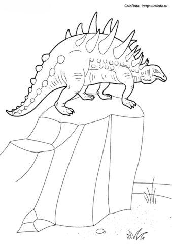 Нодозавр на камне раскраска распечатать бесплатно на А4 - Динозавры