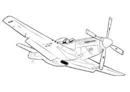 Бесплатная раскраска North American P-51 Mustang распечатать и скачать - Самолеты