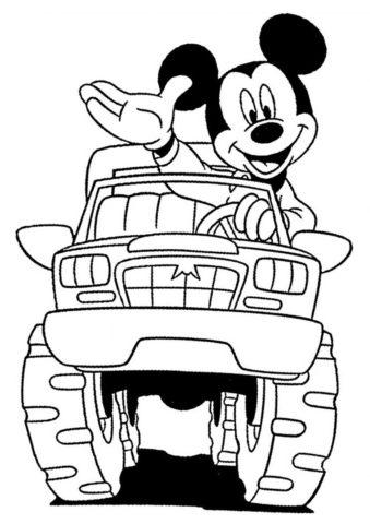 Новенький автомобиль (Микки Маус) бесплатная раскраска